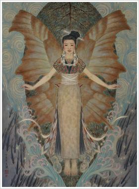 风格特点:     蝴蝶花纹是苗族富有民族特色的纹样,体现了苗族人民的